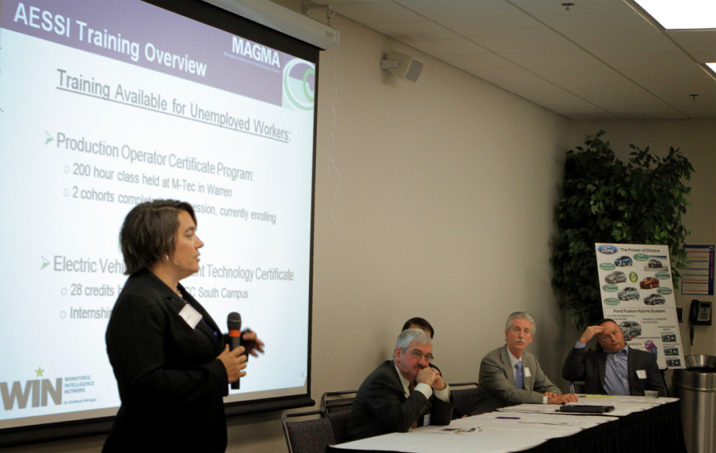 A panel discusses educational opportunities in training a workforce to meet industry needs in green mobility technology.